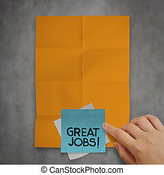 great job sticky notes on recycle crumpled paper background as concept