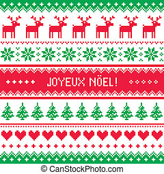 Joyeux noel card christmas pattern - Winter red and green...
