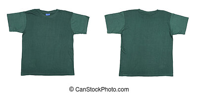 Blue green t-shirt front and back view