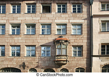Nuremberg - Altstadt - Ancient Franconian building with...