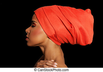 Attractive woman's profile in turban. Closed eyes. Isolated...