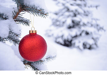 Beautiful Red Christmas Ball on the Fir Branch Covered with...