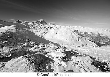 High mountain range in black and wh