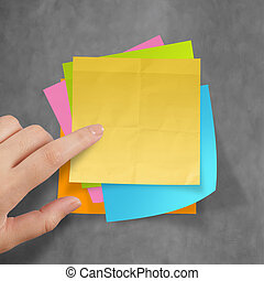 great job sticky notes on recycle crumpled paper background...