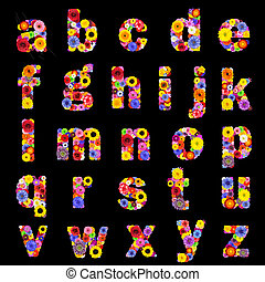 Full Floral Alphabet Isolated on Black- Letters A to Z -...