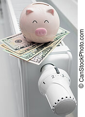 Heating thermostat with piggy bank and money, expensive...