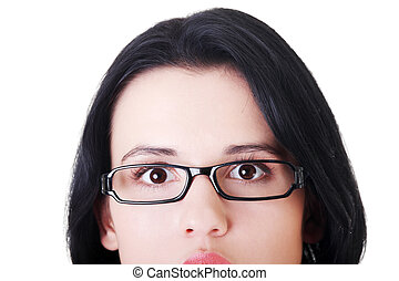 Female's face with eyeglasses. Cut out.  Isolated on white.