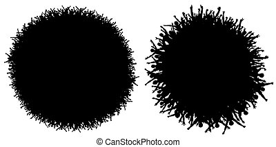 Circular crowds - Two editable vector silhouettes of...
