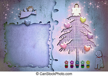 Christmas greeting frame card cute fir tree