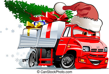 Cartoon Christmas Truck - Cartoon christmas truck isolated...