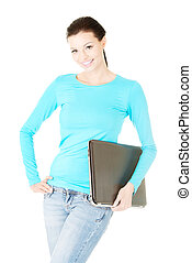 Attractive woman with a laptop.