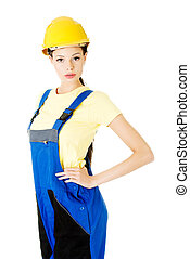 Attractive woman wears work clothes and helmet Isolated on...