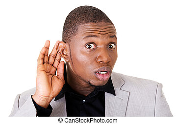 Male handsome businessman hearing. Hand on ear. Isolated on...