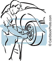 Auto repair - illustration of a repairer to work\
