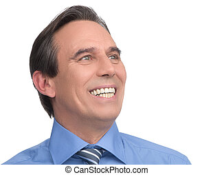Happy businessman. Portrait of handsome mature businessman...