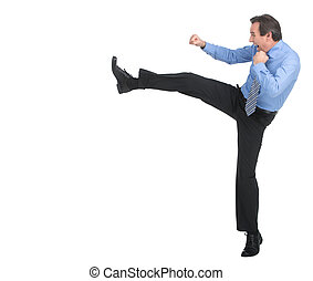 Strength and authority. Full length of angry businessman imitating a fight standing against white background
