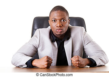 Male businessman sitting in a chair, angry Madness Isolated...