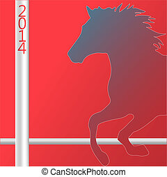 Christmas Horse silhouette symbol of New Year 2014 card...