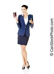 婦女, 事務, 杯子, 顯示, 年輕, 有吸引力, 藏品, 很好