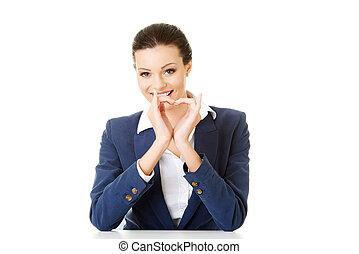 心, 婦女, 事務, 顯示, 有吸引力, 簽署