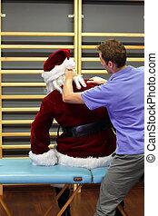 Trabajó demasiado, santa, Claus, masaje