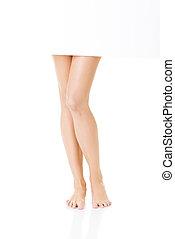 Female smooth legs. Closeup.