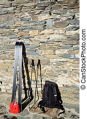 Resting after back country skiing - Pair of tour ski with...