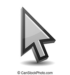 Arrow pointer isolated on white - 3D vector illustration of...