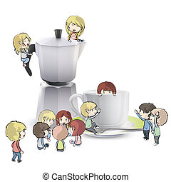 Kids around cuo of coffee, and coffee pot. Vector design