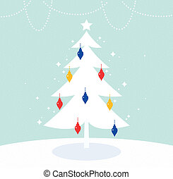 Magical Christmas Tree with retro colorful decoration -...