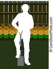 Gardener - Illustration of a silhouette person gardening
