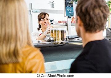 Tienda, Mirar, clientes, vendedora, carnicero