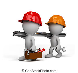 Two repairman go to perform the task. 3d image. White...