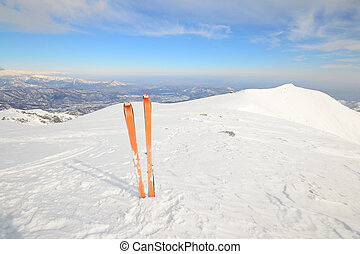 High up by back country skiing - Pair of back country ski on...