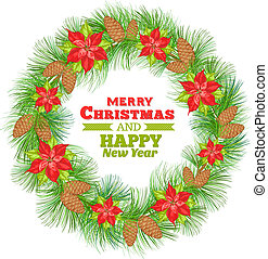 Poinsettia wreath. - Poinsettia christmas wreath. Vector...