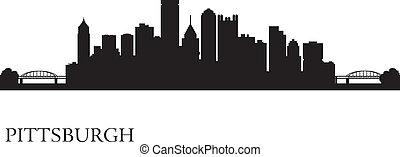 Pittsburgh city skyline silhouette background. Vector...