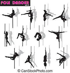 Pole dancer set - Pole dancer woman vector silhouettes set...