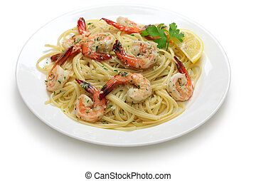 pasta with shrimp scampi - linguine with sauteed shrimp in...