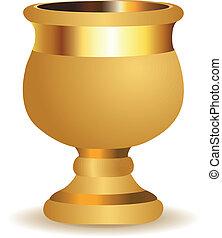 Golden vase - Beautiful big golden shiny vase on white...