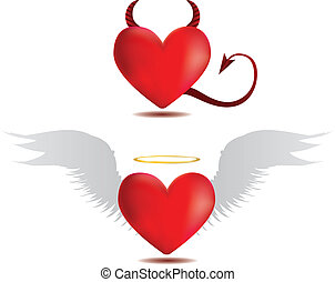 Good and evil hearts - Illustration of angel and devil red...