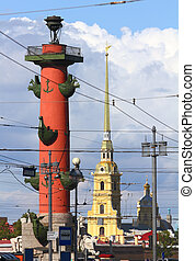 St. Petersburg - rostral column and Cathedral inl Fortress -...