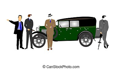 gangsters car - gangsters standing in front of bullet ridden...