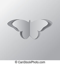 Paper butterfly - Cut out paper butterfly of grey color...