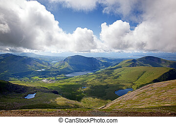 Snowdonia - View across Snowdonia from the LLanberis Pass,...