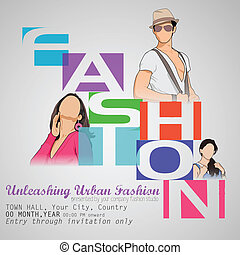 Fashion Show - easy to edit vector illustration of poster...