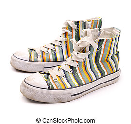 fashionable sneakers - Pair of old dirty fashionable...