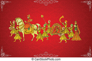 Indian Wedding Card - easy to edit vector illustration of...