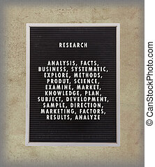 Research concept in plastic letters on very old menu board,...