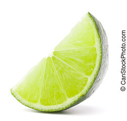 Citrus lime fruit segment isolated on white background...