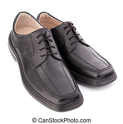 Black glossy manrsquo;s shoes with shoelaces - Black glossy...